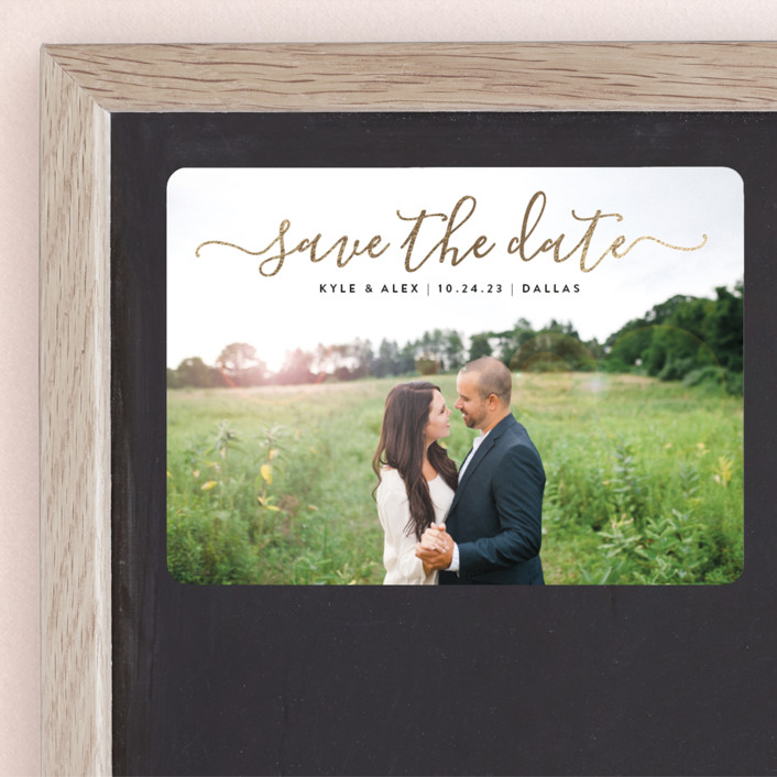"""""""Sweet Script"""" - Foil-pressed Save The Date Magnets in Golden by Jessica Ogden."""