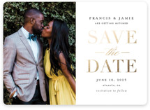This is a white save the date magnet by Stacey Meacham called Simply Striking with foil-pressed printing on magnet paper in magnet.