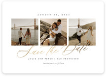 This is a white save the date magnet by Sarah Brown called Topside with foil-pressed printing on magnet paper in magnet.