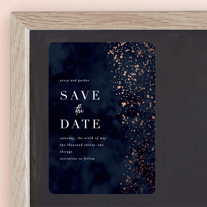 """glistening stardust"" - Foil-pressed Save The Date Magnets in Midnight by Angela Marzuki."