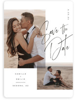 This is a black save the date magnet by Kristie Kern called Flirt with standard printing on magnet paper in magnet.
