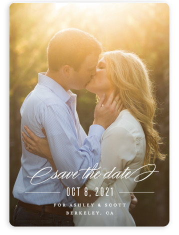 This is a landscape, portrait classic and formal, white Save the Dates by Carolyn MacLaren called Dashing with Standard printing on Magnet Paper in Magnet Flat Card format. A single photo design that feels both modern and elegant.