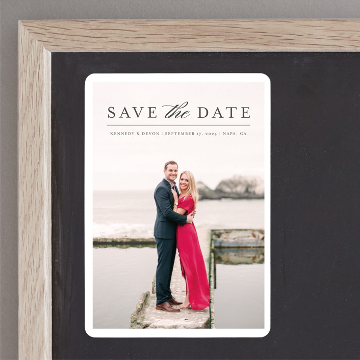 """""""Classic Save the Date"""" - Save The Date Magnets in Platinum by Pine and Lark."""