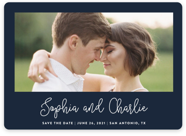 This is a landscape bold and typographic, blue Save the Dates by Stacey Meacham called Adoration with Standard printing on Magnet Paper in Magnet Flat Card format. A casual, calligraphy script highlights the couples names on this photo save the ...