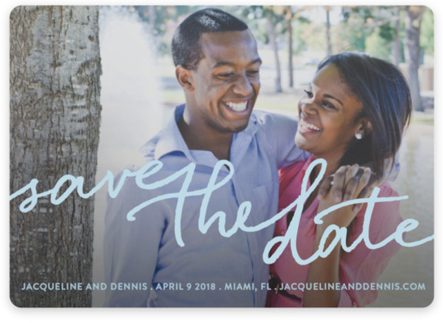 This is a landscape full bleed photo, modern, blue Save the Dates by Michelle Poe called Scribble It with Standard printing on Magnet Paper in Magnet Flat Card format. A clean, casual card with just the right touch of class ...