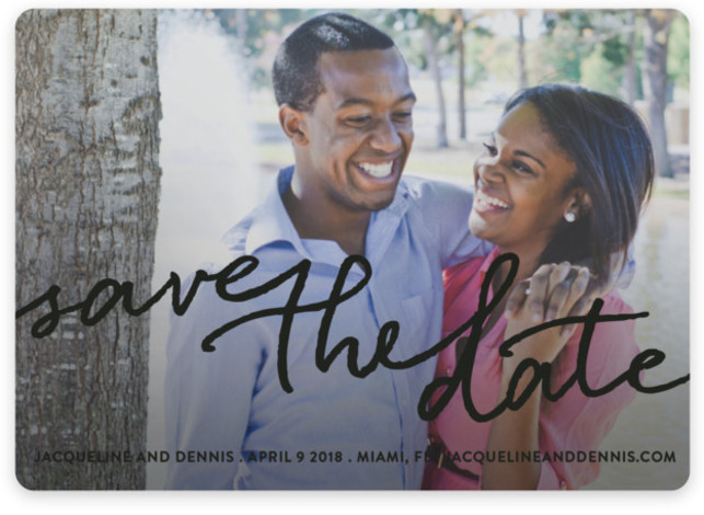 This is a landscape full bleed photo, modern, black Save the Dates by Michelle Poe called Scribble It with Standard printing on Magnet Paper in Magnet Flat Card format. A clean, casual card with just the right touch of class ...