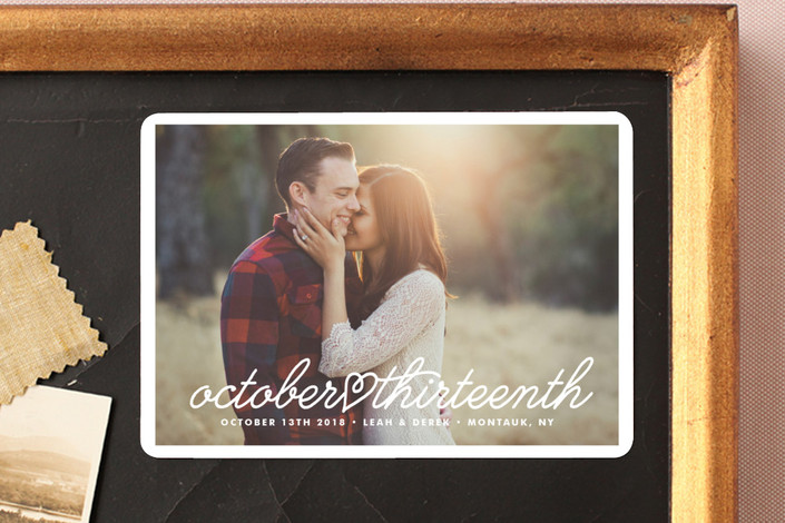 """Cursive Heart"" - Elegant, Full-Bleed Photo Save The Date Magnets in Cloud by Up Up Creative."