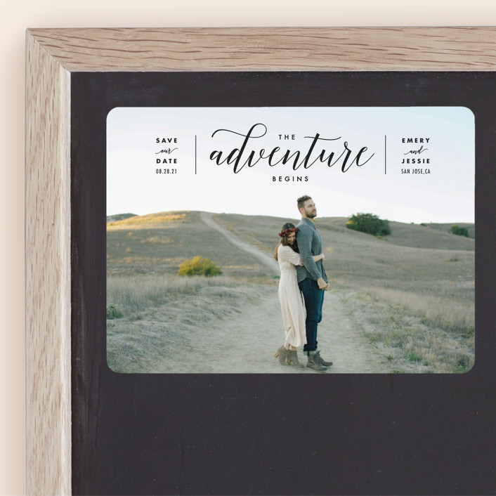 """""""The Adventure Begins"""" - Modern Save The Date Magnets in Classic by Kelly Schmidt."""