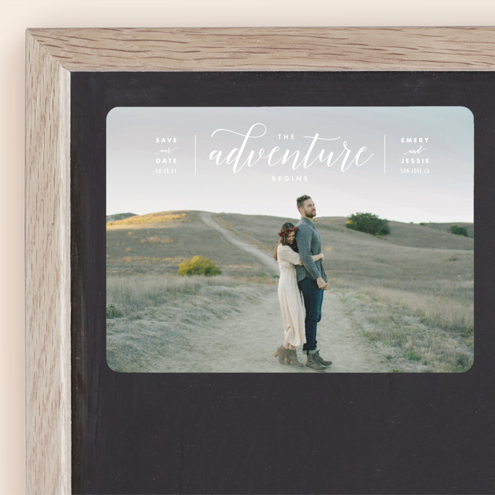 """""""The Adventure Begins"""" - Modern Save The Date Magnets in White by Kelly Schmidt."""