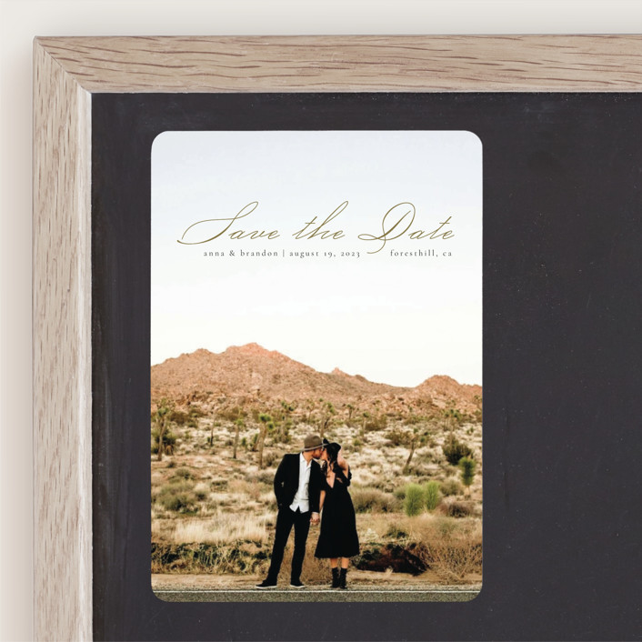 """""""Heavenly"""" - Save The Date Magnets in Moss by Kann Orasie."""