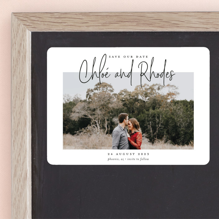 """""""Signature names"""" - Save The Date Magnets in Pencil by Stacey Meacham."""