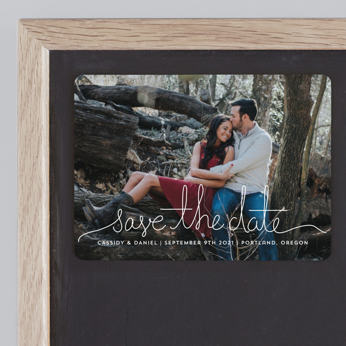 """""""Revelry"""" - Bohemian Save The Date Magnets in Lily by Design Lotus."""