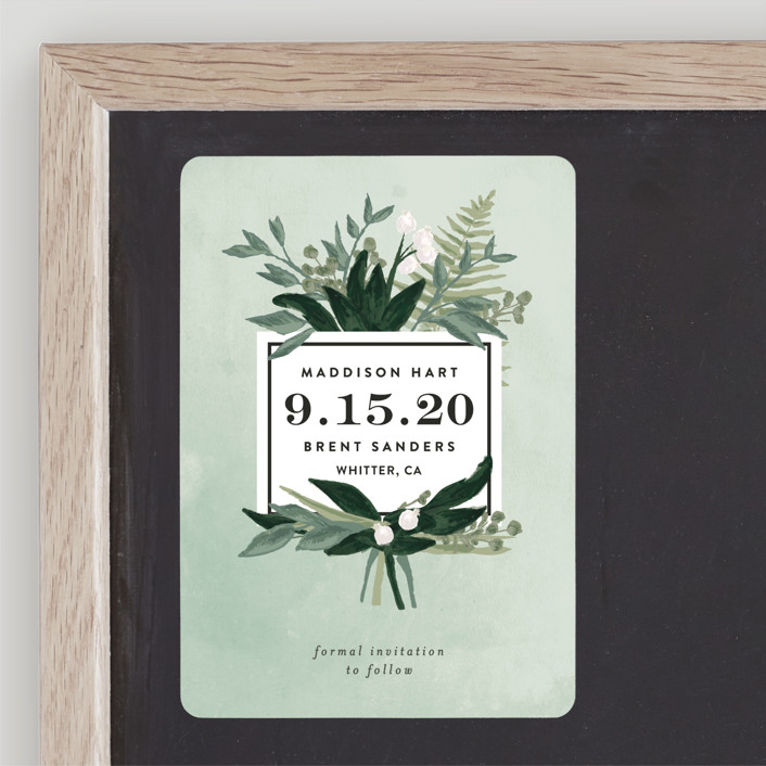 """Botanical Name Plate"" - Save The Date Magnets in Sage by Shiny Penny Studio."