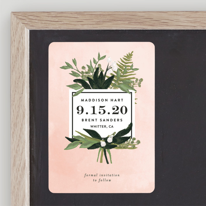 """Botanical Name Plate"" - Save The Date Magnets in Blush by Shiny Penny Studio."