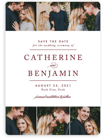 This is a portrait classic and formal, red Save the Dates by Jennifer Postorino called Picture Perfect with Standard printing on Magnet Paper in Magnet Flat Card format. This sleek and sophisticated save the date announcement features elegant typography and ...