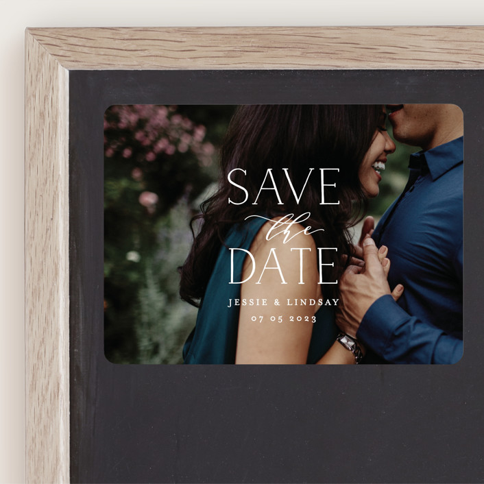 """""""covered"""" - Save The Date Magnets in White by Phrosne Ras."""