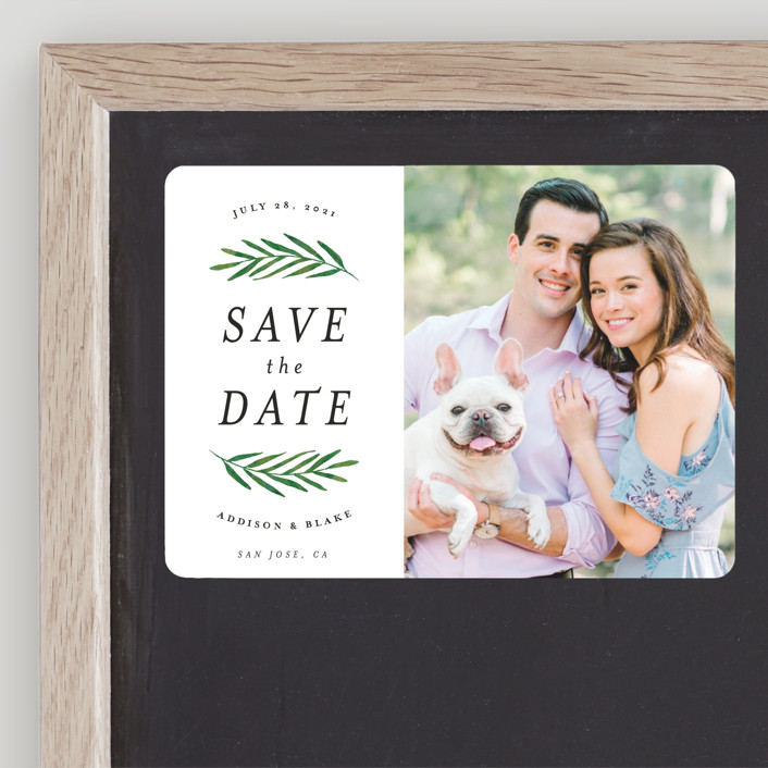 """Framed in Foliage"" - Save The Date Magnets in Fresh by Kelly Schmidt."