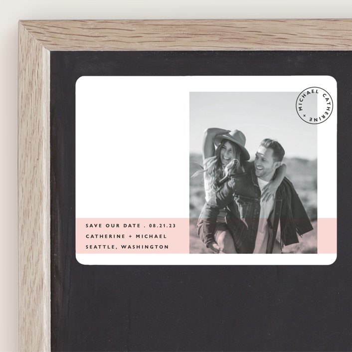 """""""Sealed with a Kiss"""" - Save The Date Magnets in Blush by Caitlin Considine."""