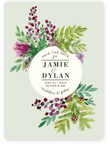 This is a portrait botanical, purple, green Save the Dates by Alexandra Dzh called Wedding Watercolors with Standard printing on Magnet Paper in Magnet Flat Card format. This elegant design features a water colored floral composition and a balanced typography. ...