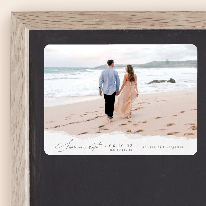 """""""Torn Texture"""" - Save The Date Magnets in Parchment by Everett Paper Goods."""