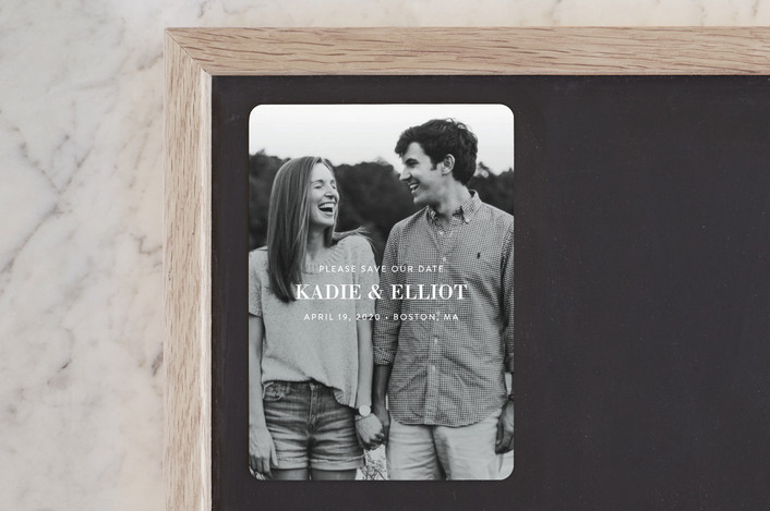 """""""Subtle Statement"""" - Modern Save The Date Magnets in Snow by Sandra Picco Design."""