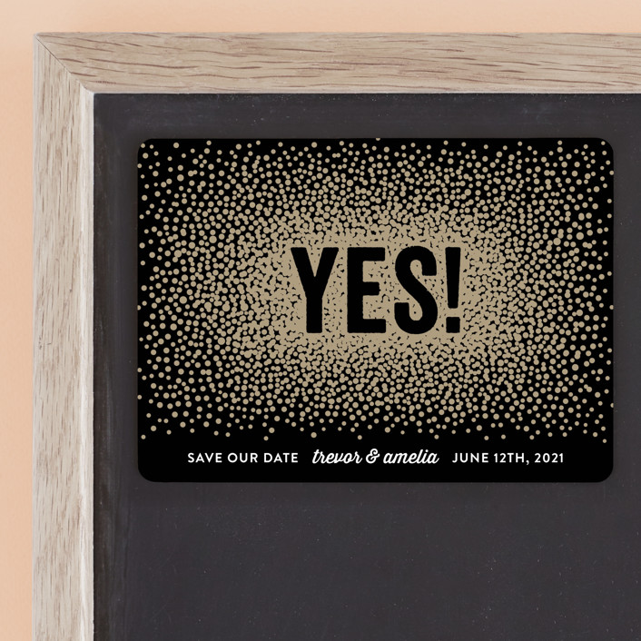 """""""Glittering Yes!"""" - Save The Date Magnets in Noir by Hooray Creative."""