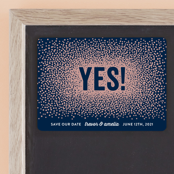 """""""Glittering Yes!"""" - Save The Date Magnets in Navy by Hooray Creative."""
