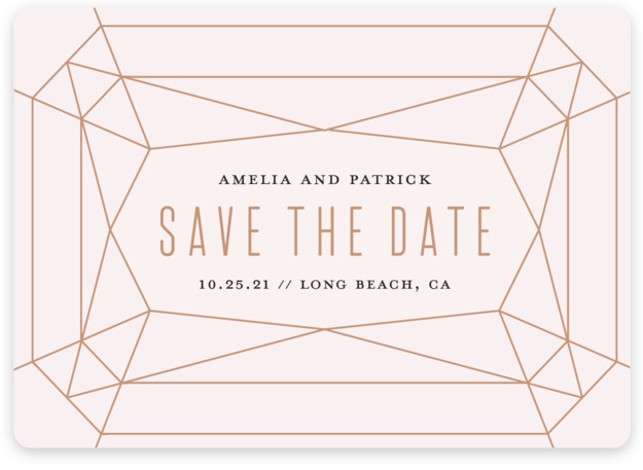 This is a landscape modern, pink Save the Dates by Rebecca Bowen called Geode with Standard printing on Magnet Paper in Magnet Flat Card format. Geometric gemstone
