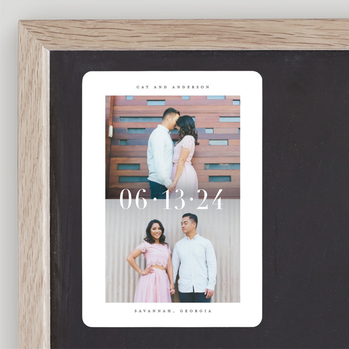 """""""Split"""" - Save The Date Magnets in Charcoal by Lauren Chism."""