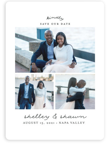 This is a portrait simple and minimalist, black and white Save the Dates by Shirley Lin Schneider called Romantic Trio with Standard printing on Magnet Paper in Magnet Flat Card format. A 3 photo save the date card featuring modern ...