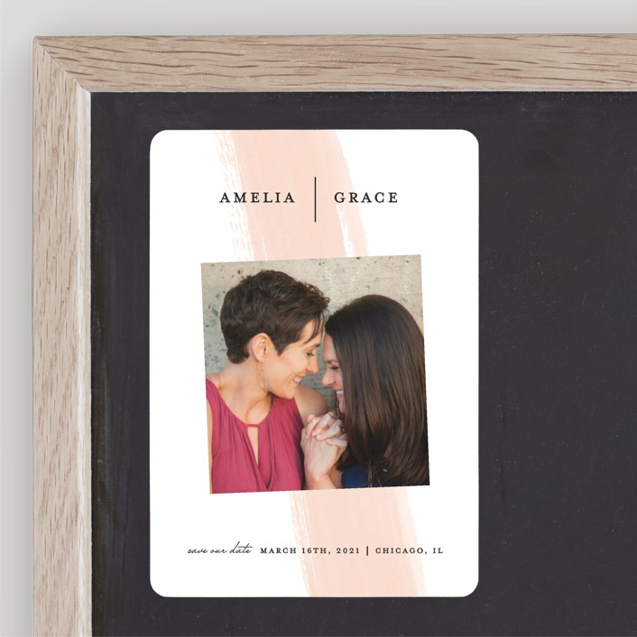 """Single Swath"" - Save The Date Magnets in Blush by Angela Marzuki."