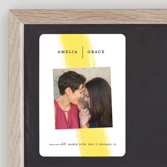 """""""Single Swath"""" - Save The Date Magnets in Blush by Angela Marzuki."""