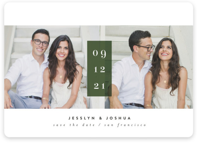 This is a landscape bold typographic, minimalist, simple, simple and minimalist, green Save the Dates by chocomocacino called framboise with Standard printing on Magnet Paper in Magnet Flat Card format. Bold photo card with striking block of dates between the ...