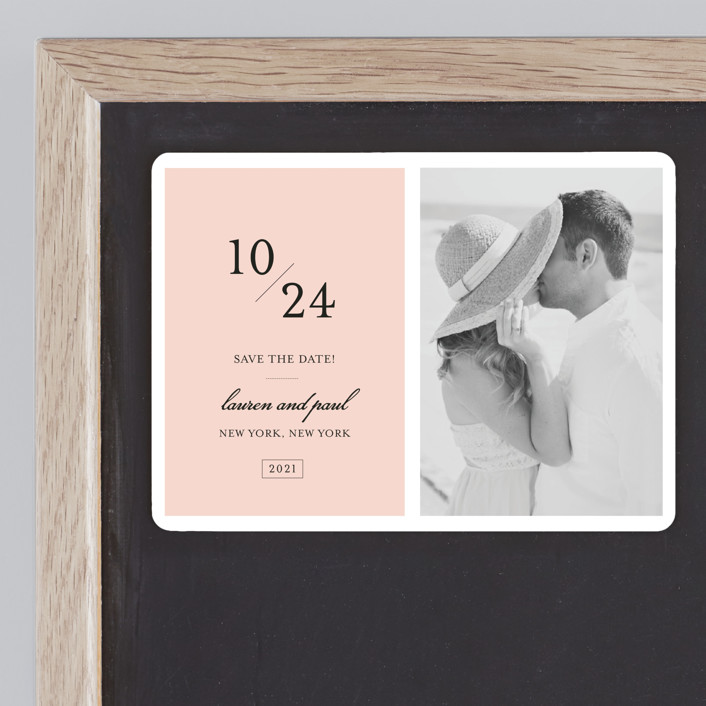 """""""Forever Classic"""" - Modern Save The Date Magnets in Blush by Sara Hicks Malone."""