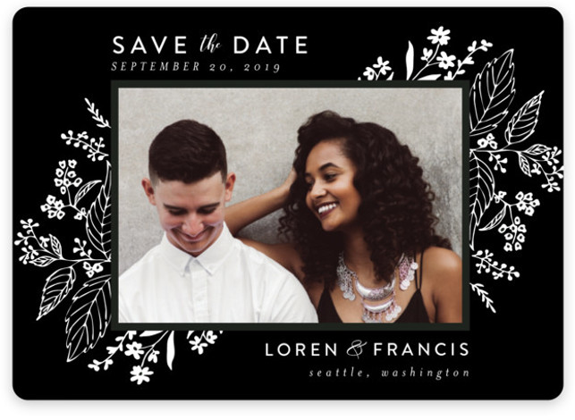 This is a landscape botanical, black, black and white Save the Dates by Chris Griffith called Tapestry with Standard printing on Magnet Paper in Magnet Flat Card format. Delicate yet dramatic florals frame this elegant design