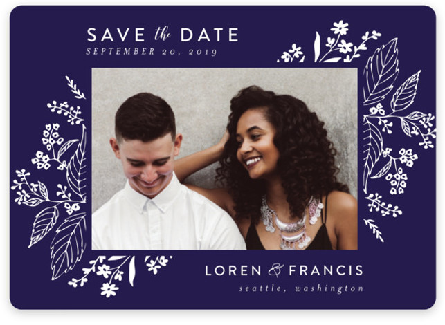 This is a landscape botanical, purple Save the Dates by Chris Griffith called Tapestry with Standard printing on Magnet Paper in Magnet Flat Card format. Delicate yet dramatic florals frame this elegant design
