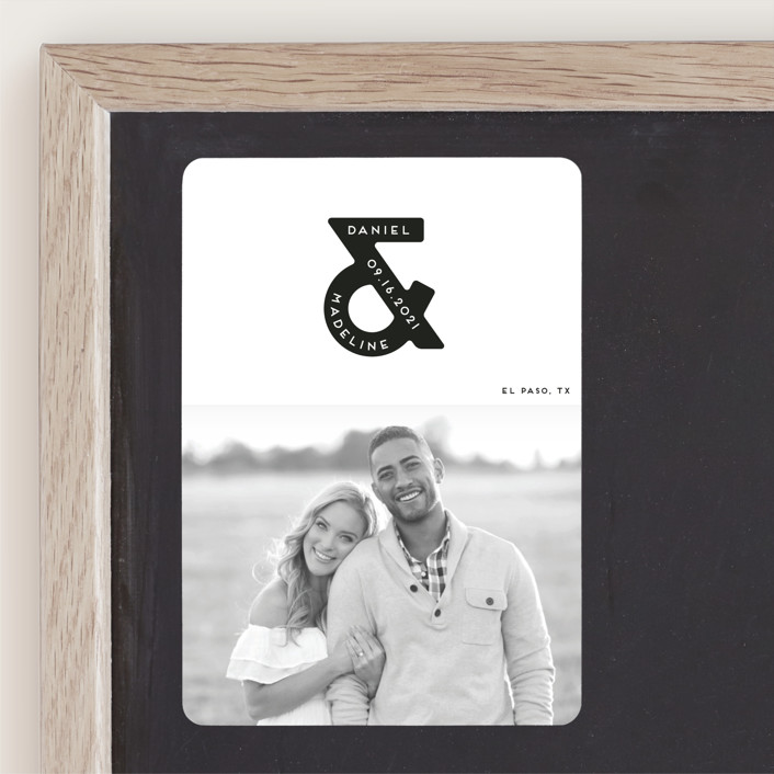 """""""Ampersand us"""" - Bold typographic, Minimalist Save The Date Magnets in Fog by Gwen Bedat."""