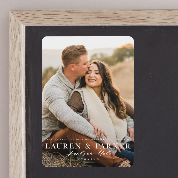 """""""Classic Touch"""" - Save The Date Magnets in Pearl by Oscar & Emma."""