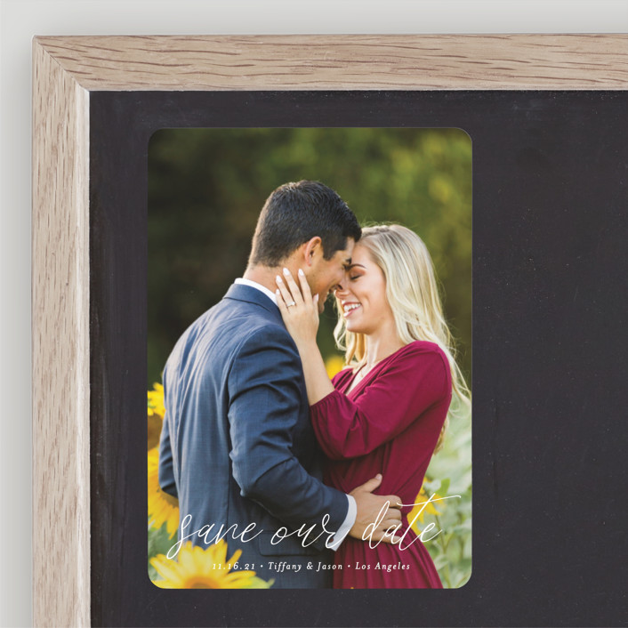 """""""the perfect date"""" - Save The Date Magnets in Linen by Kasia Labocki."""