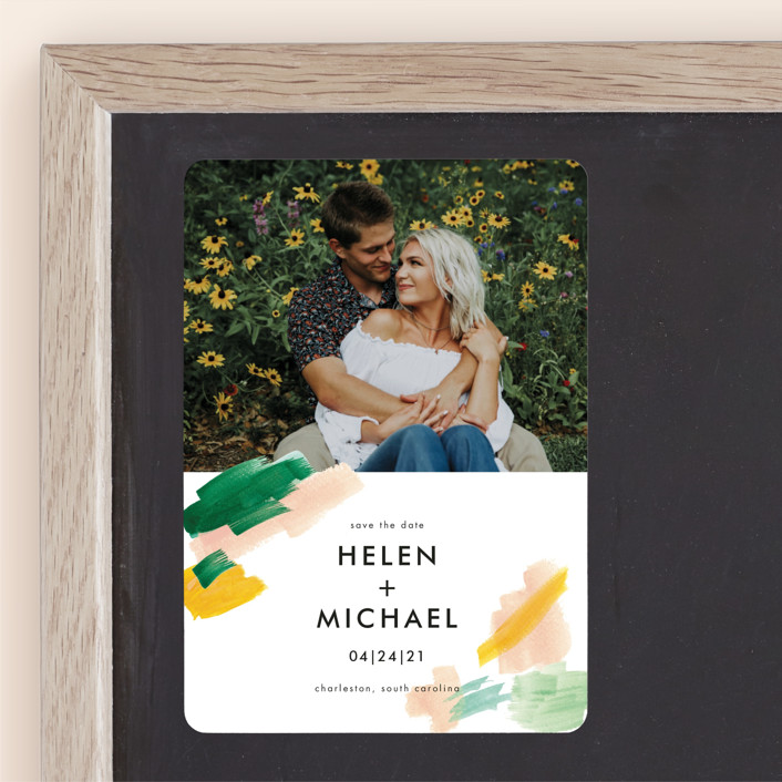 """""""Hamptons"""" - Save The Date Magnets in Melon by Erika Firm."""