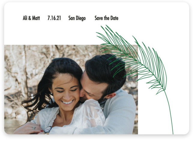 This is a beach, botanical, floral, green Save the Dates by Elsa Duncan called Palm with Standard printing on Magnet Paper in Magnet Flat Card format. This minimal save the date features a single palm frond illustration and one photo ...