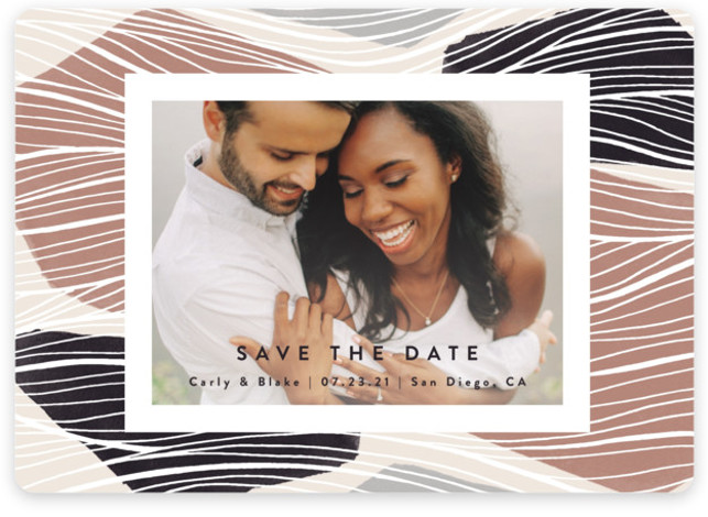 This is a botanical, painterly, black Save the Dates by Kelly Schmidt called Tropical with Standard printing on Magnet Paper in Magnet Flat Card format. Wavy lines intersect with abstract shapes in this bold, modern save the date