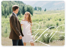 This is a white save the date magnet by Erin L. Wilson called A Whisper with standard printing on magnet paper in magnet.