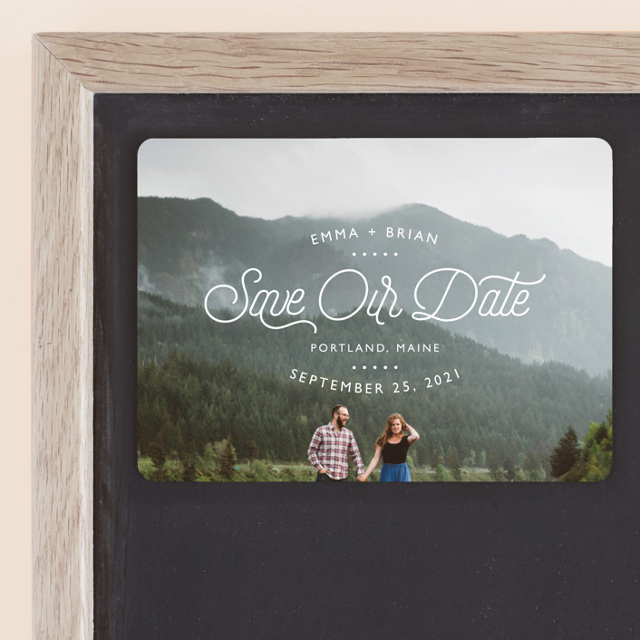 """Something New"" - Modern Save The Date Magnets in Cloud by 24th and Dune."