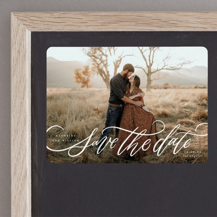 """""""Flourished Love"""" - Save The Date Magnets in Cloud by Wildfield Paper Co."""