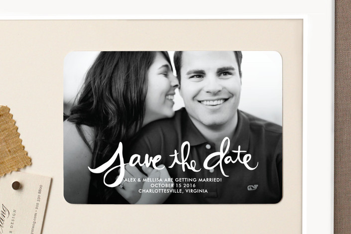 """Hand-Lettered"" - Bohemian Save The Date Magnets in Lily by Dean Street."