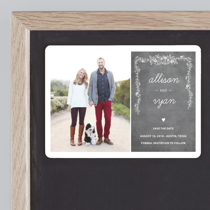 """""""Chalkboard"""" - Bold typographic, Floral & Botanical Save The Date Magnets in Charcoal by SimpleTe Design."""