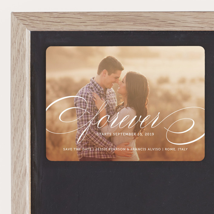 """Forever"" - Formal, Full-Bleed Photo Save The Date Magnets in Snow by Kimberly FitzSimons."