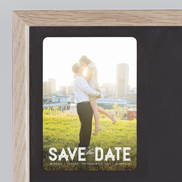 """Modern Ribbon"" - Bold typographic, Modern Save The Date Magnets in Snow by Jill Means."