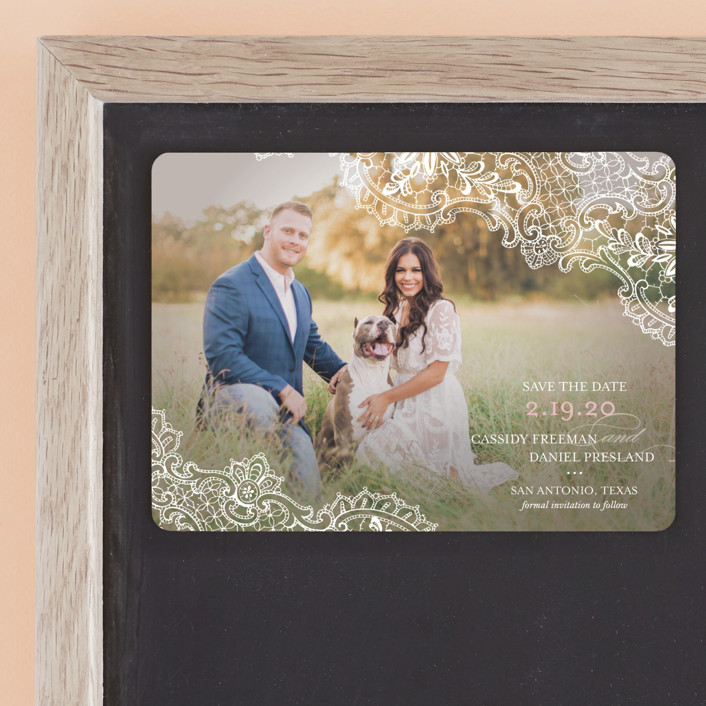 """White Lace"" - Vintage, Full-Bleed Photo Save The Date Magnets in Blush by Lauren Chism."